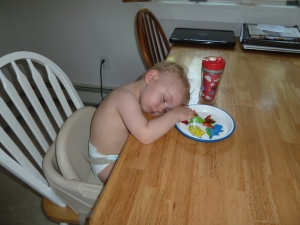Jude asleep eating