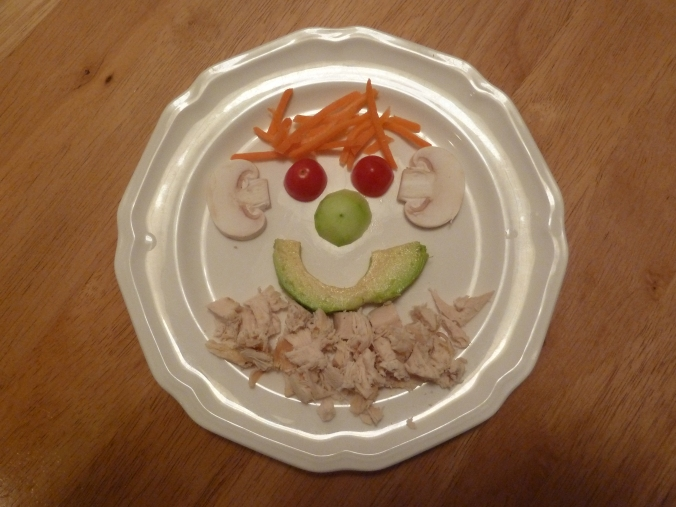"I even tapped into the creative juices to try to get the boys to eat veggies (and chicken) for dinner, a la the ""Caveman."""