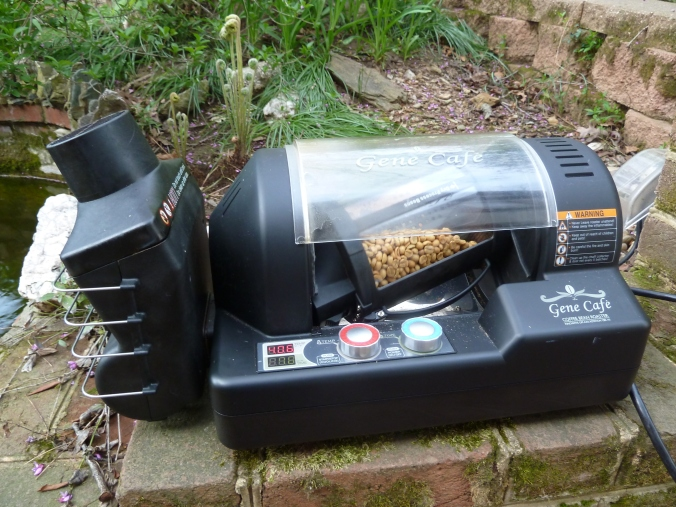 This is what a home coffee roaster looks like -- or ours, at least. There are different kinds, but for the most part, they're all glorified popcorn poppers.