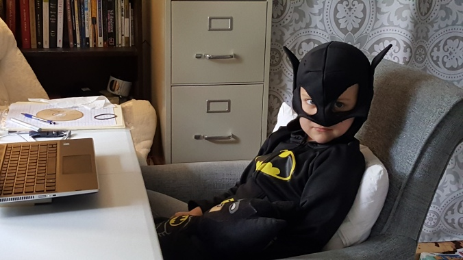 The author's son dressed up as Batman