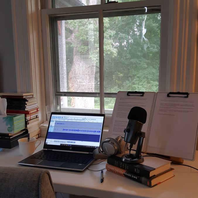 podcasting equipment on desk