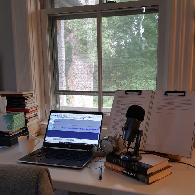 podcasting equipment on desk